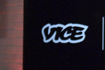 "FILE - In this Oct. 30, 2014, file photo, the Vice logo is seen at a joint venture announcement between Vice Media and Roger Communications in Toronto. For all the words flowing since last weekend in Charlottesville, Va., the most striking television reporting has been Vice Media's insider account of the white nationalist movement and the aftermath of their demonstration. Correspondent Elle Reeve's story was first shown on HBO's ""Vice News Tonight"" on Monday, Aug. 14, 2017, and has been seen more than 36 million times on television and streaming platforms. (Nathan Denette/The Canadian Press via AP, File)"