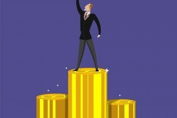Successful businessman standing on pile of money. Concept illustration of successful business, growing profit. Flat design
