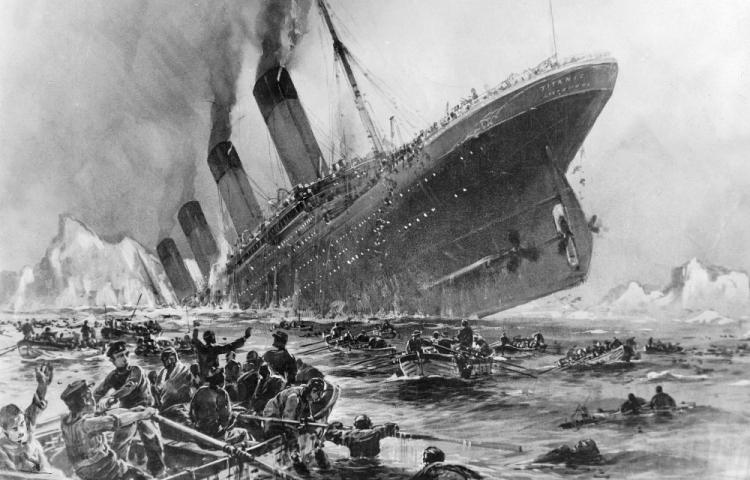 The drawing by Willy Stoewer depicts the sinking of the 'Titanic' on April 14, 1912.