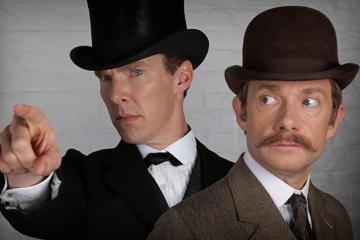 """This photo provided by PBS/BBC shows, Benedict Cumberbatch, left, as Sherlock Holmes and Martin Freeman as Dr. John Watson, from the """"Sherlock"""" special, coming soon to Masterpiece on PBS. The panel for """"Sherlock"""" is scheduled for Thursday, July 9, 2015, during the 2015 Comic-Con International at the San Diego Convention Center. (PBS/BBC Hartswood Films for Masterpiece via AP)"""