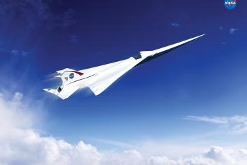 "This is an artist's concept of a possible Low Boom Flight Demonstration Quiet Supersonic Transport (QueSST) X-plane design. The award of a preliminary design contract is the first step towards the possible return of supersonic passenger travel – but this time quieter and more affordable. The return of supersonic passenger air travel is one step closer to reality with NASA's award of a contract for the preliminary design of a ""low boom"" flight demonstration aircraft. This is the first in a series of 'X-planes' in NASA's New Aviation Horizons initiative, introduced in the agency's Fiscal Year 2017 budget. NASA selected a team led by Lockheed Martin Aeronautics Company of Palmdale, California, to complete a preliminary design for Quiet Supersonic Technology (QueSST). The work will be conducted under a task order against the Basic and Applied Aerospace Research and Technology (BAART) contract at NASA's Langley Research Center in Hampton, Virginia. After conducting feasibility studies and working to better understand acceptable sound levels across the country, NASA's Commercial Supersonic Technology Project asked industry teams to submit design concepts for a piloted test aircraft that can fly at supersonic speeds, creating a supersonic ""heartbeat"" -- a soft thump rather than the disruptive boom currently associated with supersonic flight. Lockheed Martin will receive about $20 million over 17 months for QueSST preliminary design work. The Lockheed Martin team includes subcontractors GE Aviation of Cincinnati and Tri Models Inc. of Huntington Beach, California. The company will develop baseline aircraft requirements and a preliminary aircraft design, with specifications, and provide supporting documentation for concept formulation and planning. This documentation would be used to prepare for the detailed design, building and testing of the QueSST jet. Performance of this preliminary design also must undergo analytical and wind tunnel validation. In addition"