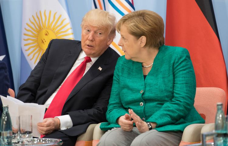 US President Donald Trump and German Chancellor Angela Merkel attend the launch of the World Bank's Women's Entrepreneurship Facility Initiative on the margins of the G20 summit in Hamburg.