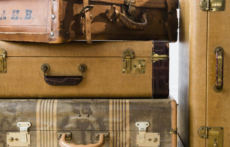 Studio shot of old fashioned suitcases