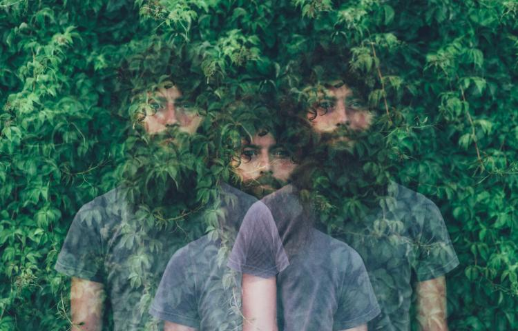 Triple exposure portrait of transparent young man and green foliage
