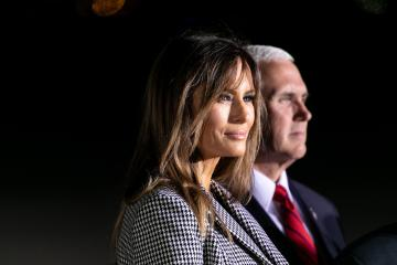 May 10, 2018 - Suitland, Maryland, United States - (L-R): First Lady Melania Trump, and VP Mike Pence, with the American citizens, released from detention in North Korea, at Joint Base Andrews, in Suitland, MD., on Thursday, May 10, 2018